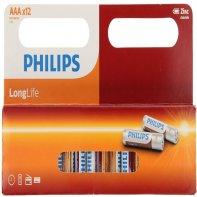 Piles AAA Longlife Philips Lot De 12