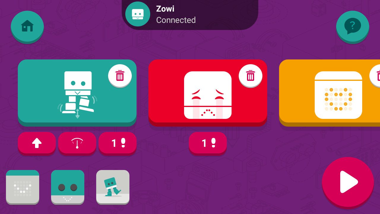 Application smartphone du robot Zowi