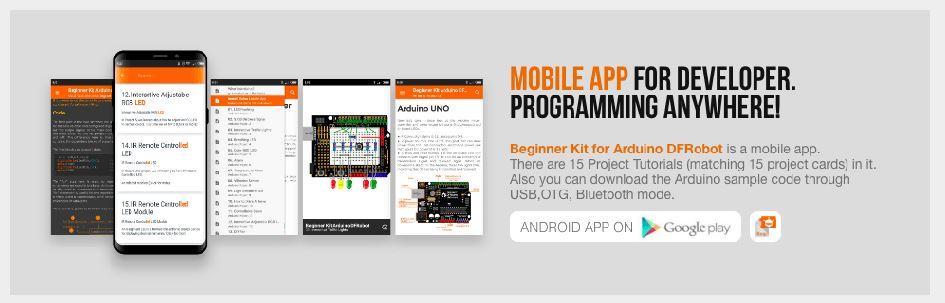 Kit démarrage Arduino DFRobot application mobile