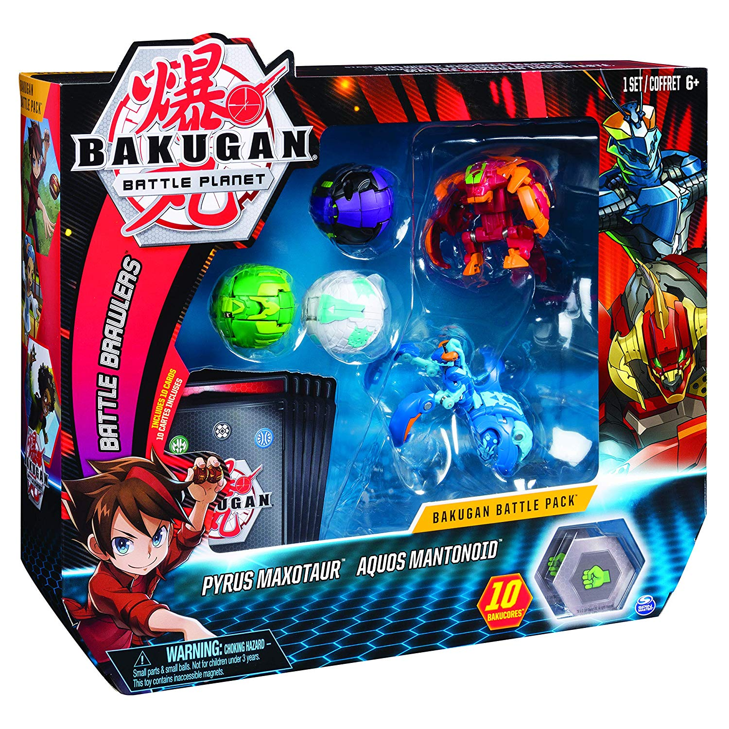Bakugan Battle Pack Pyrus Maxotaur Aquos Mantanoid