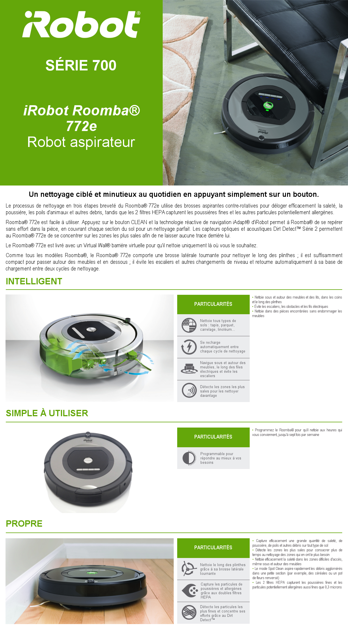 Caractéristiques aspirateur Roomba 772e iRobot
