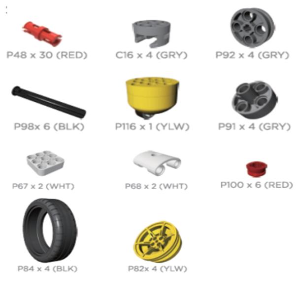 Pièces du kit accessory wheeled JIMU